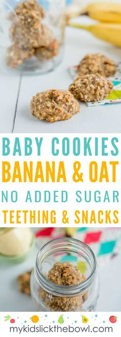 Basic Banana Oat Cookies - Suitable for babies and toddlers - Rezepte für's Kleinkind - Basic Banana baby cookies, easy baby led weaning recipe, breakfast or snack, soft finger food for b - Banana Oat Cookies, Banana Oats, Banana Snacks, Healthy Baby Food, Healthy Baking, Healthy Kids, Breakfast Healthy, Breakfast Recipes, Breakfast Ideas For Baby