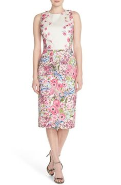 Maggy London Floral Print Stretch Cotton Midi Dress available at #Nordstrom