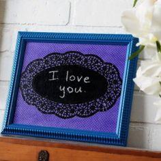 Doily DIY chalkboard message board