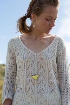 chunky triangle long necklace, yellow   tassel sautoir