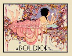 Beautiful Boudoir Art Deco Lady BOUDOIR SIGN  Piver Face powder Scents Sachet Cosmetics Fred Packer 1920 Giclee Fine Art Print  11x14