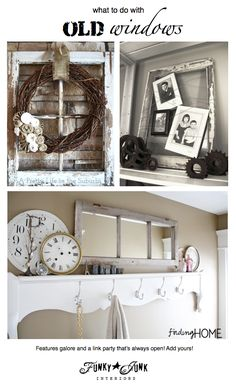200+  OLD WINDOW ideas! Features and a link party! Come browse or link up! (it never closes) via Funky Junk Interiors #windows