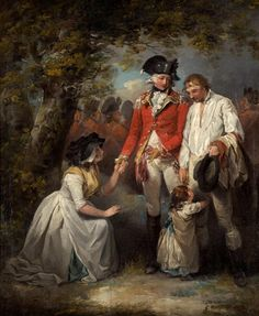 """""""The Deserter Pardoned"""" by George Morland (1792) at the Holburne Museum, Bath - From the curators' comments: """"The picture is fourth in a series of dramatic episodes on the theme of a soldier's life...The first scene shows a simple country lad being persuaded to enlist by the sergeant. The next two deal with his desertion and subsequent arrest. In the present picture, the deserter is pardoned by the noble captain and restored to his family."""""""