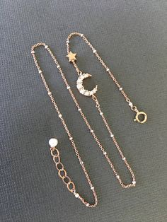 Sideways Vermeil Crescent moon Bracelet Rose gold Moon and
