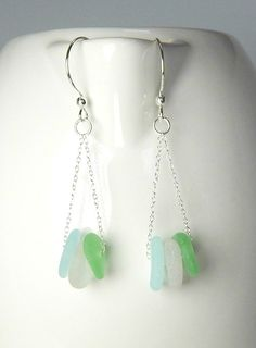 Beach Glass Earrings GENUINE Sea Glass Earrings Sea Foam And Aqua Seaglass