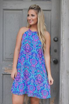 Paisley Keyhole Back Fully Lined Chiffon Dress