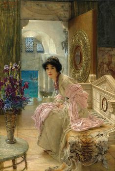 Lawrence Alma-tadema Painting - Watching And Waiting by Lawrence Alma-Tadema 1897