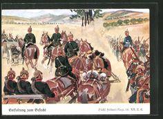 old postcard: Künstler-AK Döbrich-Steglitz: Enfaltung zum Gefecht, sächsisches Feldartillerie-Regiment 12 schwärmt aus