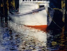 """white boat 22"""" x 30"""" micheal zarowsky watercolour on arches paper / private collection"""