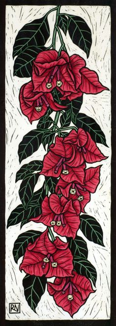 Bougainvillea50 x 18 cm    Edition of 50Hand coloured linocut on handmade  Japanese paper.   Rachel Newling.