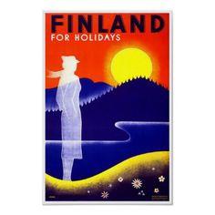 Impressão do poster de viagens de Finlandia do vin por ArtisticFootprints