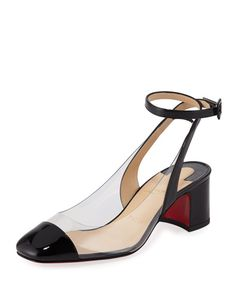 a68a1ed875d Christian Louboutin | Asticocotte Patent Red Sole Pump - Black patent  leather pump with PVC sides