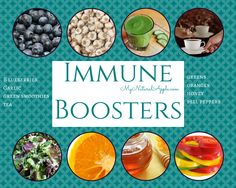 Immune-boosting foods: blueberries, garlic, green smoothies, tea, greens, oranges, honey, bell peppers. These foods are high in antioxidants and/or minerals + vitamins that support the immune system such as vit C, zinc and selenium, great for boosting the immune system and preventing colds + flu!