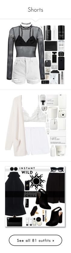 """""""Shorts"""" by candiseotsuka ❤ liked on Polyvore featuring Faith Connexion, Topshop, Monki, Lalique, CocoOil, Bobbi Brown Cosmetics, Burberry, Living Proof, Wet Seal and Narciso Rodriguez"""