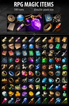 Buy RPG Magic Items by a-ravlik on GraphicRiver. The set includes 100 RPG magic itemss . Pop Art Design, Game Design, Icon Design, Web Design, Photoshop Photography, Creative Photography, Cool Photoshop, Photoshop Tutorial, Game Icon