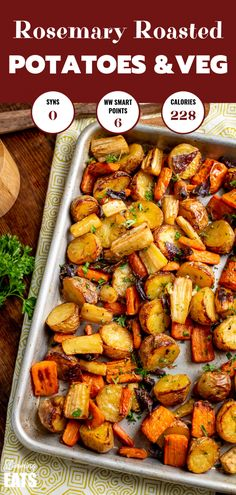 Healthy Delicious Syn Free Rosemary Roasted Potatoes, Parsnips, Carrots and Onion the perfect addition to any main meal. Roasted Vegetable Recipes, Roasted Vegetables, Veggie Recipes, Vegetarian Recipes, Cooking Recipes, Healthy Recipes, Veggie Food, Cooking Tips, Salad Recipes