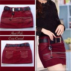 "Joker Zipper Mini Skirt PU leather with tassel winter joker zipper hip short mini skirt. Color red wine. Has underwear liner inside skirt.Party with this baby on I'm sure you will get compliments. W-14"" T-15 1/2"" L-11 1/2"" New! PRICE FIRM UNLESS BUNDLED Skirts Mini"