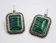 Malachite square earrings, stones earrings, Romantic jewelry, Bohemian earrings, Gifts for her, boho chic bijoux by wikandah on Etsy