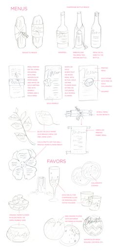 Menu & Favor Ideas from Julie Song Ink...which do you love most? All of them.