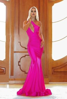 Hoco Dresses, Pageant Dresses, Bridesmaid Dresses, Formal Dresses, Bridesmaids, One Shoulder Gown, Designer Prom Dresses, Bright Purple, Formal Wear