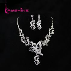 Fashion Bridal Jewelry Sets Silver Color Leaf Hollow out Butterfly Necklace and Flower Dangle Earrings for Wedding Dress-in Jewelry Sets from Jewelry on Aliexpress.com | Alibaba Group