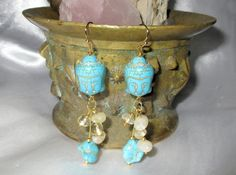 Buddha Dangle Earring  Turquoise  Citrine by WiredFlutterby