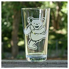 Grateful Dead Dancing Bear Etched Pint Glass Etsy listing at https://www.etsy.com/listing/233301423/sandblasted-pint-glasses-grateful-dead