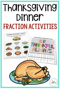 This Thanksgiving Math Fraction Project is the perfect activity to engage fifth graders! It is Common Core Aligned as students practice fractions as division, adding fractions, and multiplying fractions. Teaching Fractions, Teaching Math, Adding Fractions, Multiplying Fractions, I Love Math, Fun Math, Free Teaching Resources, Teaching Ideas, Fraction Activities