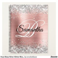 Monogram Notebook, Rose Gold Notebook, Rose Gold Ombre, Thing 1, Blush Roses, Online Gifts, Creative Gifts, Silver Glitter, Notebooks