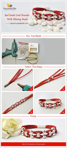 PandaHall Elite Craft Ideas: How to make bracelet with leather cord  #pandahallelite #craft #handmadebracelet #cord