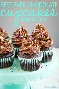Best Ever Chocolate Cupcakes from Scratch - The Busy Baker - - These Best Ever Chocolate Cupcakes from Scratch are the perfect easy chocolate cupcakes - a one-bowl chocolate cupcake batter and fluffy chocolate frosting! Chocolate Cupcakes From Scratch, Homemade Chocolate Cupcakes, Cupcake Recipes From Scratch, Easy Cupcake Recipes, Chocolate Buttercream, Buttercream Frosting, Cupcake Flavors, Chocolate Cupcake Recipe Without Buttermilk, Best Chocolate Cupcake Recipe Ever