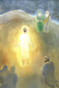 """Transfiguration of Jesus watercolor painting by John Meng-Frecker.  This 8""""x12"""" giclee art quality print is signed by the artist and sells for $38."""