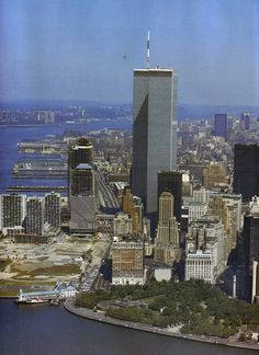 aerial view of manhattan island looking north october 1984 Miss you guys. World Trade Center Nyc, Trade Centre, Manhattan New York, Lower Manhattan, 911 Twin Towers, New York City Travel, Aerial View, The Good Place, New York Skyline