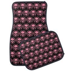 Pink and Black Skulls Car Mat #PinkAndBlackObsession