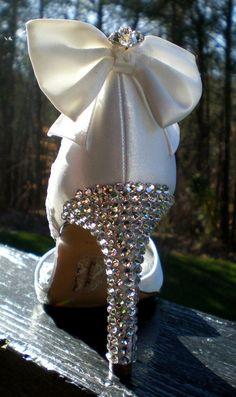Handmade lace covered Swarovski crystal wedding shoes...Jane