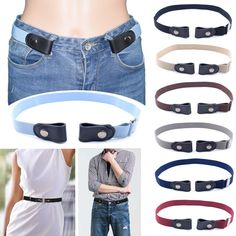 Women's Buckle-Free Elastic Belts Invisible Belt For Jeans No Bulge Hassle Band Casual Adjustable Button Canvas Button Canvas, Color Borgoña, Luxury Belts, Leather Buckle, Belts For Women, Jeans, Neue Trends, Belt Buckles, Ideias Fashion