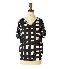 Marimekko Halke Black and White Top - Size L 14/16  NEW