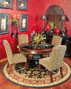 Red is bold, fierce, daring, and inviting--and today we're putting it in your dining room - Red Dining Room Walls. A dining room is a great place to feature Dining Room Walls, Dining Room Design, Living Room Decor, Design Kitchen, Dining Area, Kitchen Decor, Dining Chairs, Tuscany Decor, Tuscan Style Homes