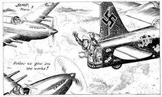 Caricature de Leslie Illingworth paru dans le Daily Mail le 17 juillet 1943  Texte : Saute Mario! - Avant qu'on finisse le job! sur le bombardier: peuple italien...