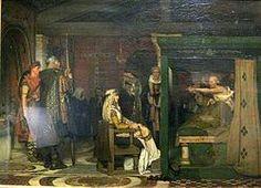 Frédégonde visite Prétextat sur son lit de mort par Lawrence Alma-tadema.- FREDEGONDE 2) BIOGRAPHIE. 2.5: SON RETABLISSEMENT (586) ET CONFLIT AVEC GONTRAN (587-592), 1: Alors que Gontran est occupé au loin en Septimanie wisigothique, Frédégonde tente d'échapper à la surveillance de l'évêque PRETEXTAT pour fuit Rouen. Durant une messe pontificale, Prétextat est poignardé.