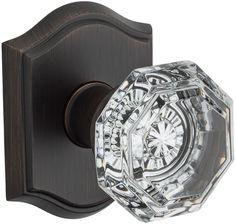 Baldwin HD.CRY.TAR Crystal Single Dummy Door Knob with Traditional Arch Trim fro Venetian Bronze Knobset Single Dummy