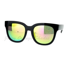 Womens Classic Rounded Square Sunglasses Multicolor Mirror Lens