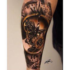 tattoo blackandgrey clock clocktattoo on Instagram