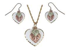 Moonlight Heart & Leaves Earrings & Pendant Set - Black Hills Gold