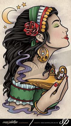 gypsy+woman+drawing | Gypsy Woman and Sailor Girl Leg Tattoo Designs