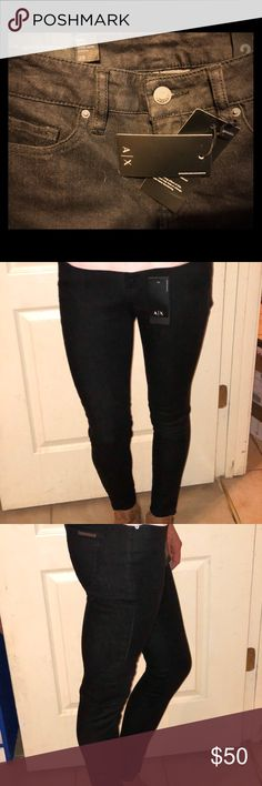 Armani Exchange Black Women's super skinny Jeans Super skinny Armani Exchange size 26  Black  NEW WITH TAGS We can also custom wax these please inquire if interested! Stretchy ! :) A/X Armani Exchange Jeans Skinny