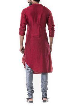 Maroon Cowl Kurta with Grey Churidar. Mens Indian Wear, Mens Ethnic Wear, Indian Groom Wear, Indian Men Fashion, Indian Ethnic Wear, Kurta Pajama Men, Kurta Men, Designer Dress For Men, Designer Clothing