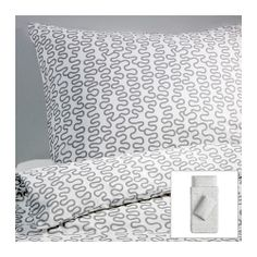 RM29.90 KRÅKRIS Quilt cover and 2 pillowcases, grey/white