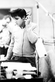 Elvis Presley in the recording studio for King Creole, 1958.