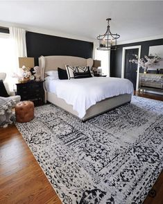 Another way to accomplish a farmhouse search for your master bedroom is to add wooden furniture. My home requires a little updating. When developing your master bedroom plans there is an abundance of master bedroom design suggestions to think about. Blue Master Bedroom, Master Bedroom Interior, Home Interior, Interior Design, Black And Cream Bedroom, Master Bedroom Chandelier, Simple Interior, Jewel Tone Bedroom, Low Ceiling Bedroom